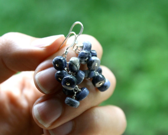 Sodalite Earrings . Blueberry Earrings . Nature Inspired Jewelry . Gemstone Cluster Earrings . Blue Stone Earrings - Cascada Collection