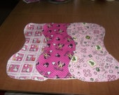 Baby Burp Cloth Set of Three with Terrycloth Back Pink John Deere Minnie Mouse Pink Snoopy Curved to Fit Your Neck and Shoulder