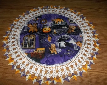 Halloween Doily Scaredy Cats Kittens Crocheted Edge Fabric Center Doily Crochet Centerpiece Table Topper Doily Decoration Handmade 20 inches