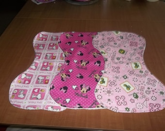 Baby Girl Burp Cloth Set of Three with Terrycloth Back Pink John Deere Minnie Mouse Pink Snoopy Curved to Fit Your Neck and Shoulder