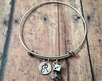 Dice initial bangle - dice jewelry, casino jewelry, Las Vegas jewelry, board game jewelry, silver dice initial bracelet, gambling jewelry