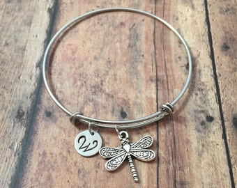 Dragonfly initial bangle- dragonfly jewelry, insect jewelry, damselfly bracelet, bug charm bracelet, silver dragonfly bracelet, bug bangle
