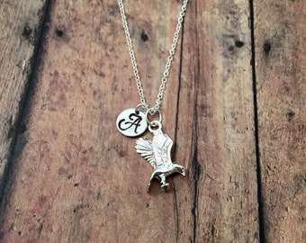 Eagle initial necklace - flying eagle jewelry, bird jewelry, patriotic necklace, hawk jewelry, silver hawk necklace, patriotic jewelry