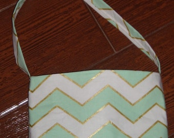 Mist green, gold and white chevron toddler purse