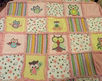 Whimsical Adorable Throw Baby Child Quilt Rag Blanket Embroidery Pink Owl Quilt Handmade