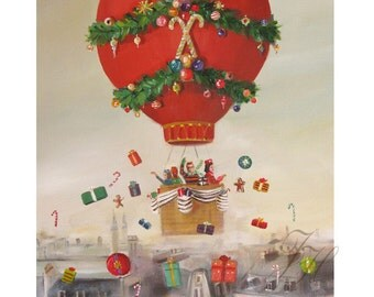 The Peppermint Family Christmas Balloon Ride. Art Print