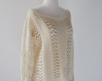 January Sweater - Lace Knit Oversized Original Design Women's Sweater in Pure Wool - Size Small - Natural Cream White