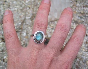 Labradorite Ring, Sterling Silver Ring, Gemstone Ring, Boho Jewelry, Custom Jewelry, Made to Order, Choose Your Size