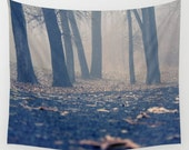 wall tapestry- nature photography-forest-trees-fog-blue-brown-wall hanging-landscape photo-home decor