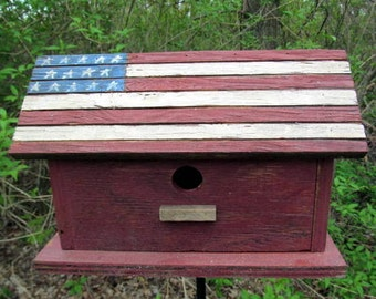 American Flag Wood Birdhouse Hand Painted Stars and Stripes Vintage Patriotic
