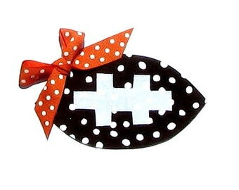 Football...Fabric Iron On Applique... Choose Your Own Ribbon Color