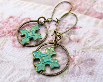 small Coptic cross earrings mixed metal earrings patina verdigris dangle earrings Bohemian jewelry