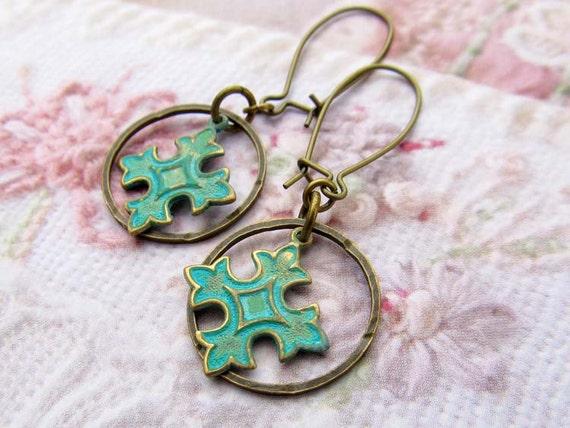 small Cross earrings Bohemian jewelry