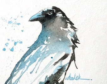Crow ORIGINAL bird watercolour painting