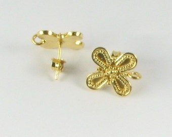 Bali Gold Vermeil over Sterling Silver Butterfly Shape Post Earrings with Loop for Bead Dangles, Jewelry Supplies, Earring Findings (1 pair)