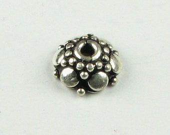 Large and Small Dots Bali Sterling Silver Bead Caps Beadcaps 10mm, Jewelry Making Supplies, Jewelry Findings, Beading Supply (2 beads)
