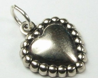 FLASH SALE Dotted Heart Charm Antiqued Sterling Silver (1 piece)