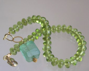 Green Peridot Bracelet, Glossy Lime Gemstone, Layering Bracelet, Sea Green Fluorite Dangle, Original Design, Signature