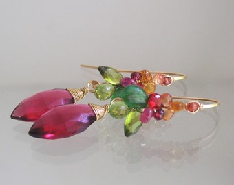 14k Gold Filled Wire Wrapped Gemstone Earrings with Sapphires, Vesuvianite, Peridot and Fuchsia Quartz Dangles