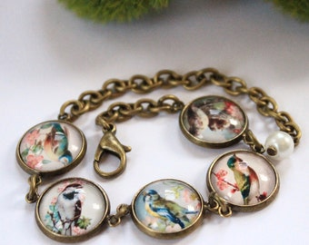 Vintage Birds Antique Brass Bracelet