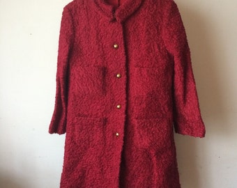 Girls 1960's Maroon Poodle Coat and Romper Dress Matching Set Bill Atkinson Glen of Michigan