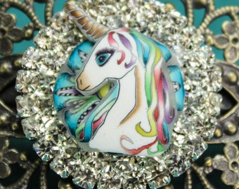 Polymer Clay Unicorn Brass Barrette, 'Mystical Meadow' series
