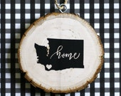 Custom City and State HOME Wood Christmas Ornament
