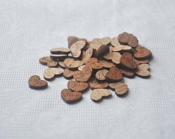 100pcs+ 12mm Zakka wood Hearts