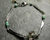 Australian Opal Smoky Quartz Link Bracelet | Hammered Silver Bracelet | Layering Link Bracelet | Minimalist Handmade Bracelet