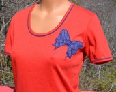 70s vintage tee shirt APPLIQUE bow women's preppy red blue ringer scoop neck t-shirt Medium Small jilly