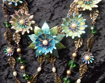 Stunning Multi-Strand with Hand Painted Flowers