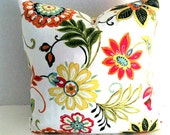One Floral Throw Pillow-Richloom Fabrics-Pillow Cover - Invisible Zipper Closure-Popular Cushion-Sofa Pillows-White-Orange-Red-Green-Yellow