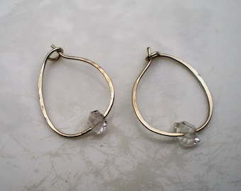 Argentium Silver and Herkimer Diamond Earrings Safety Fastening