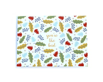 You're the Best Fall Floral Print Pattern Thank You card leaves whimsical