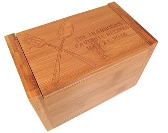 Custom Recipe Box - Wood Recipe Box - Wooden Spoon and Fork Bamboo Box