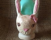 Girl Bunny with Pale Pink Bow Egg Cup clay folk art sculpture for Easter Ready to Ship