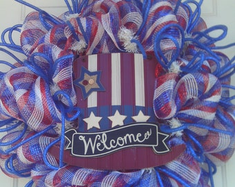 Patriotic Wreath, Americana, Fourth of July Wreath, , Memorial Day, Veterans Day, Military Wreath