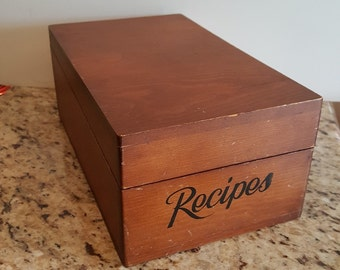 Large Wood Recipe Box with Dividers