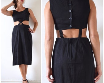 Vintage 80s 90s Black Cotton Cut Out Pencil Dress (size medium)