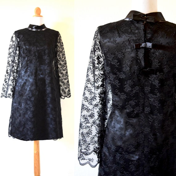 SPRING SALE/ 20% off Vintage 60s Inky Black Satin Wiggle Dress with Black Chantilly Lace Bell Sleeve Overlay (size small, medium)