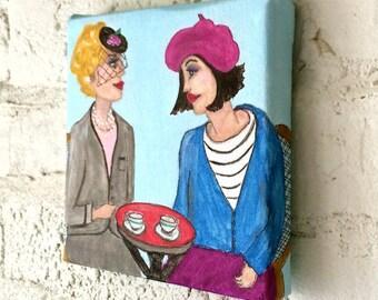 PARIS LADY PAINTING, hand painted, 6 in X 6 in, beret, veiled hat, cafe, Parisian blue, Paris, fuschia, home decor, artwork, light blue