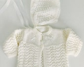 Vintage White Knit Sweater and Bonnet 3 months