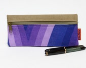 Purple Pencil Case - Retro zipper Pouch - Handmade with Love from Vintage Fabrics.
