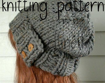 Knit Hat PATTERN, Easy Slouchy Beanie Beret, Instant Download - Chunky, winter, ski, urban, boho, vegan, teen