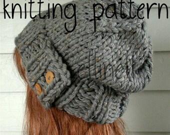SALE Knit Hat PATTERN, Easy Slouchy Beanie Beret, Instant Download - Chunky, winter, ski, urban, boho, vegan, teen