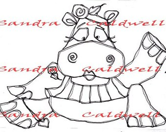305 Dressed Up Hippo Digi Stamp