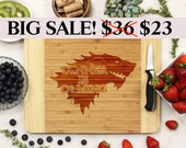 Game of Thrones engraved Cutting board, Game of Thrones Cutting Board, Dinner is coming cutting board Bamboo -- 23005-CUTB-001