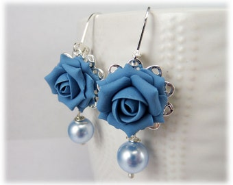 Blue Rose Pearl Earrings - Blue Rose Pearl Jewelry, Blue Flower Earrings