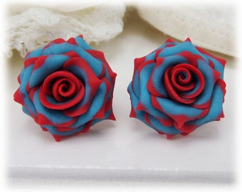 Red Tip Turquoise Rose Earrings Stud or Clip On
