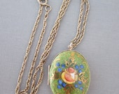 Vintage Locket Rosebud Hand Painted Glass over Enamel Gold Tone